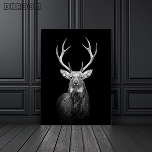 Canvas Painting Animal Wall Art Lion Elephant Deer Zebra Posters and Prints Wall Pictures for Living Room Decoration Home Decor CCD5009