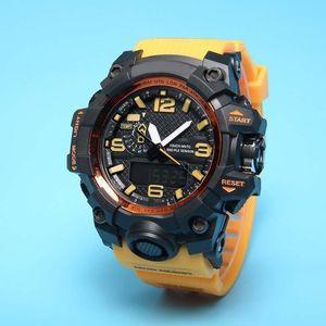 Heißer Verkauf gewöhnlicher 1000 lässig Sports-Quarzuhr-Quarz-Uhr digitale wasserdichte LED-Uhr-Weltzeitlicht freies Verschiffen