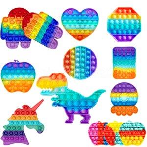 푸시 POP FIDGET 장난감 무지개 거품 감각 자폐증 특별 필요 스트레스 릴리버 어린이 가족을위한 감각 장난감을 짜내십시오. DHL 빠른 배송