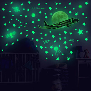 Glow in the dark Wall Stickers Kids Nursery Room Decor Wall Decals Luminous Star Airplane Self-adhesive Wallpaper Poster Art