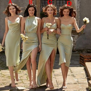 Arabic Sexy Short Bridesmaid Dresses Oilver Green Modest High Side Split Cheap Simple Junior Maid Of Honor Dress Wedding Party Dress