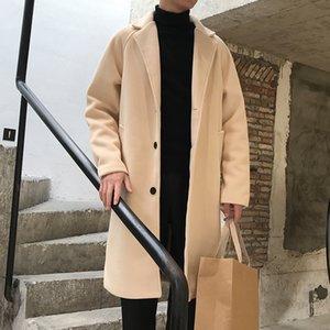 2021 Neue Youzhao-Stil Koreanische männliche Jacke Herbst Schöne Mager Super langer Wollmantel Trend JackeB757