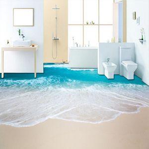 Обои из ПВХ самоклеющиеся водонепроницаемые 3D-дюймовые фрески морская волна ванная комната гостиной плитки обои стикер Papel de Parede 3 D