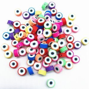 100pcs 10mm Mixed Color Evil Eye Beads Polymer Clay Beads Polymer Clay Spacer Loose Beads For Necklace DIY Bracelet Accessories