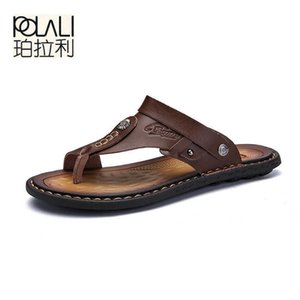 POLALI Men Sandals Genuine Split Leather Beach Brand Casual Shoes Flip Flops Slippers Sneakers Summer 210615
