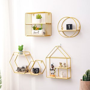 Nordic iron wall shelf living room bathroom walls hanging basket kitchen Bathroom Storage
