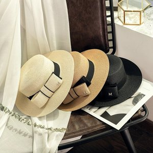 2021 New Flat Top Big Bow Summer Sun Visor Hats For Women Fashion M letter Straw Hat Elegant Ladies Wide Brim Panama Beach Hat