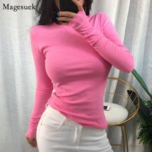 Women's T-Shirt Spring Slim Base Solid Cotton T Shirt Clothing Korean Long Sleeve Female O Neck Elastic Tops Blusas Mujer 10706