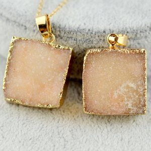 Natural Stone crystal Real druzy Pendant Necklaces Healing Point Gemstone Necklace original natural stone-style Gold Edged Stones Jewelry