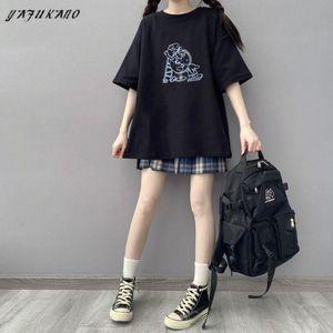 T-shirt Femme Kawaii Graphic T-shirts Femmes Noir Imprimer Alt Vêtements Mode esthétique 2021 T-shirt de T-shirt mignon Top Mujer