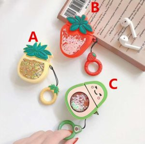 Luxury Fruit Designer 3D Avocado Strawberry Pineapple Liquid Silicon Cartoon Case For Airpods 1 2 Protective Case