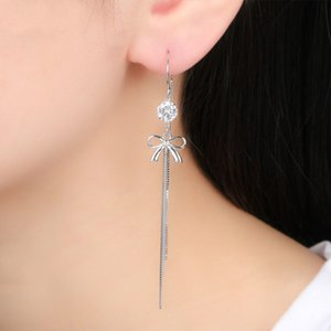 925 sterling silver butterfly earrings for Women zircon anti-lost ear line thin face Earings Korean Fashion 2020 Silver Jewelry