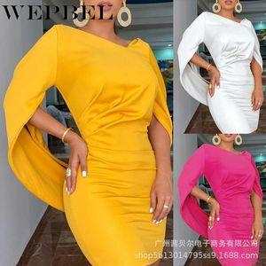 Frauen Elegant Herbst Winter Geraffte Bodycon-Kleid Lässig Unregelmäßiger Ärmel V-ausschnitt Slim Fit Bleistiftkleid