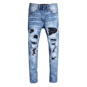 April Momo Hombres Rhinestone Crystal Patchwork LightBlue Ripped Jeans Slim Fit Fit NY Stretch Denim Broek