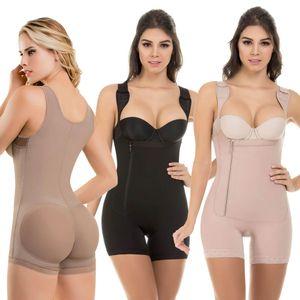 플러스 사이즈 Womens Shapers 슬림 허리 보호 솔리드 컬러 지퍼 바디 쉐이핑 여성용 속옷