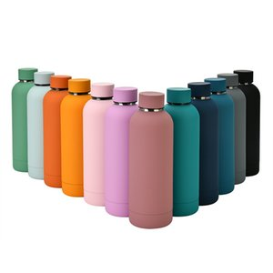 500ml Straight Vacuum Insulated Sports Water Cups 304 Stainless Steel Portable Water Bottle For Outdoor Candy Color Thermos Cup H32W34F