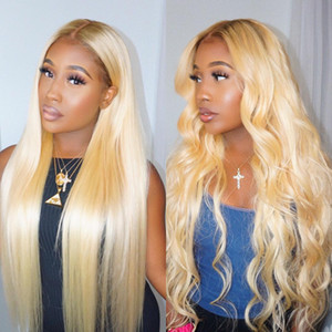 10-30inch Transparente Spitze Perücke Brazilian Body Wave 13 * 1 Menschliches Haar Lace Front Perücken Blonde Farbe 613 Menschliche Haarperücken Peruaner Gerade