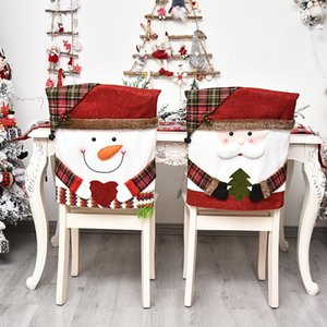 Christmas cartoon doll print chair cover Santa Claus dining table linen holiday party decoration chair-cover GWB10625
