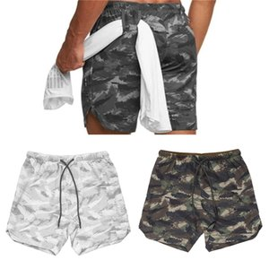 Jogger men short pants mid-waisted waistband loose pocket bodybuilding quickly dry beach men's shorts camouflage sweatpants 6WTH