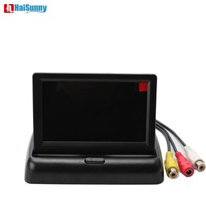 HaiSunny Foldable Car Parking Reverse Monitor 4.3 inch TFT LCD 2 Video Input For Auto Rear View Backup Camera