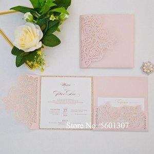 50pc Pink Rose Flower Laser Cut Wedding Invitation with Rose Gold Glitter Bottom and RSVP DIY Custom Print Cards For Anniversary