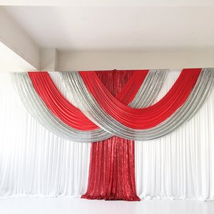 2021 Jan New Arrival 3m H x6m W Ice Silk Backdrop Curtain Sequin Drape Swag Wedding Party Decoration Customize Color and size