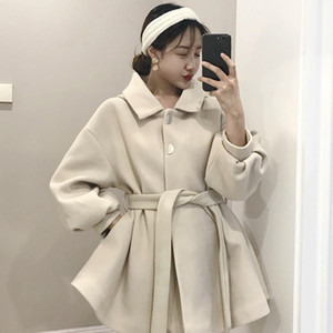 2021 New Women Wool Blend Sash Belt Winter Coat Designer Detachable Fur Collar Warm Overcoat Ladies Elegant Sleeve Long Coats Tqrp