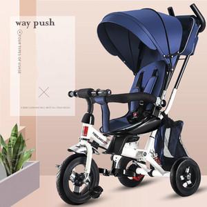 1 베이비 유모차 유모차 워커 키즈 Trike Tricycle Bike 어린이 자전거 타고 장난감 안전 울타리 조정 가능한 시트 핸들 바