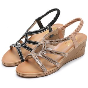 Swonco See Shoes Vintage Women's Crystal Wedged Ladies Sandals Tr8r