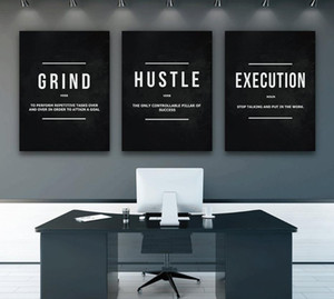 Grind Hustle Execution Motivational Quote Posters and Prints on Canvas Painting Wall Art Pictures for Living Room Office Decor