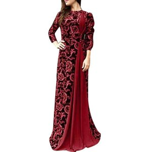Plus Size Evening Party Medieval Women Floral Print 3 4 Sleeve Maxi Dress Gown evening clothes women
