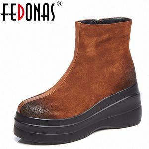 Fedonas 1Fashion Mulheres Ankle Botas Outono Inverno Quente Saltos Altos Sapatos Mulher Redonda Toe Zipper Casual marca Qualidade Básico Botas de Botas Boa Bo H2KH #