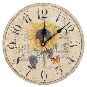 Wall Clocks 12 Inch Retro Wooden Clock Farmhouse Decor Silent Non Ticking Large Decorative - Antique Vintage Rustic