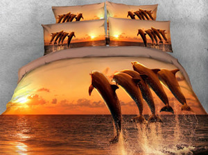 JF-046 Dolphins jump out of water Ocean bedding sets super king size 260*220cm duvet cover set 3D bed sheets for kids single bed