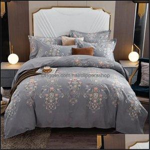Sets Bedding Supplies Textiles Home & Gardenfashion Printed Duvet Bed Sheet Set 3 4Pcs Tra Soft Warm Brushed Cotton Comforter Er With Zipper