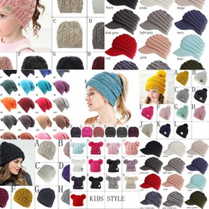ulti-Color Parents Kids Family Match Hats Kidscourful Hats Knitted CC Trendy Beanie Winter Over sized Chunky Skull Caps Soft Cable 1RY2Z