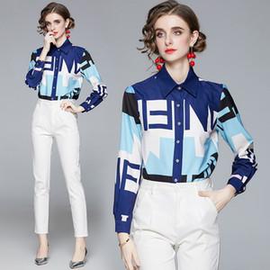 Hot New 2021 Spring Shirts Long Sleeve Elegant Lapel Print Women's Shirt Plus Size Ladies Slim Office Button DesignerTops For Autumn Winter
