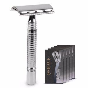 Qshave Short Handle Classic Safety Razor Double Edge Mens Shaving Razor Gift Box Pack Cure Handle 1 Razor & 5 blades