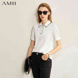 Minimalism Spring Summer Solid Basic Polo Women Tshirt Causal Fashion Loose Female Shirt Tops 12040395 210527