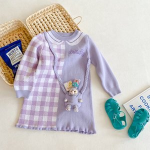 INS new Girls rabbit doll knitting falbala dress 2021 spring children cotton long sleeve T-shirt dress Kids Easter Clothing A5894