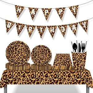 Disposable Dinnerware Leopard Jungle Theme Safari Party Decorations Tableware Set Plates Napkins Cups Wild One Year Happy Birthday Kids Boy