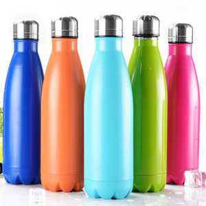 12 Colors 17oz Cola Shaped Water Bottle Vacuum Insulated Travel Water Bottle Double Walled Stainless Steel Coke Shape Outdoor Water Bottle