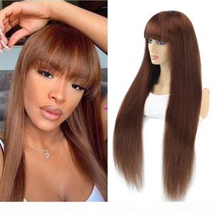 Brazilian Straight Ombre Human Hair Wigs For Women Full Wig With Bang Silk Brown Purple Highlight Wig Remy 30inch