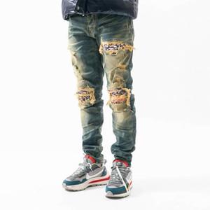 New design Men Designer jeans Distressed Ripped Biker Slim Fit Motorcycle Biker Denim Hip Hop jeans For mens Fashion jeans