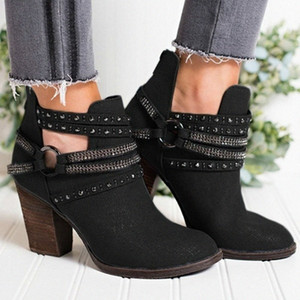 MoneRffi Female Boot Woman High Wedges Heels Ankle Boots For Women Casual Party Short Ankle Boot Ladies Belt Buckle Boots Thigh High B u3v3#