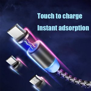 3 in 1 Magnetic Phone Cables Charger Line 2A Nylon Fast Charging Cord Type C Micro USB Cable Wire for Samsung Huawei Xiaomi