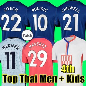 Tailandia Chelsea cuarto 20 21 WERNER HAVERTZ CHILWELL ZIYECH Camisetas de fútbol 2020 2021 Camiseta de fútbol PULISIC KANTE MOUNT 4th Men Kids set Kits tops