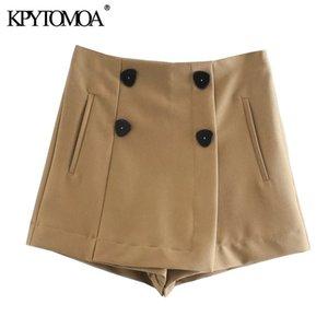Kpytomoa Frauen Chic Mode mit doppelten Tasten Shorts Röcke Vintage Hohe Taille Seite Reißverschluss Weibliche Kussmujer 210304