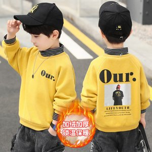 Boys autumn Plush long sleeve sweater trend 2020 new children's heavy T-shirt winter Pullover bottoming topXHO344