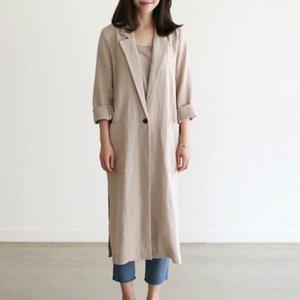 Women's Trench Coats 2021 Women Autumn Cotton And Linen Long Coat Full Sleeve Single-Button Split Hem Loose Thin Jacket